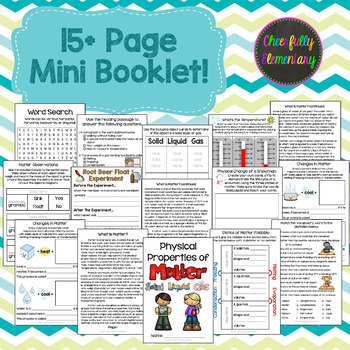 Physical Properties of Matter Mini-Booklet: Solid, Liquid, Gas, & More!