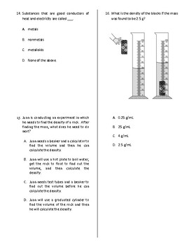 Physical Properties of Matter Quiz, Test, or Worksheet