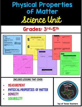 Physical Properties of Matter Science Unit Activities (Grades 3rd-5th)