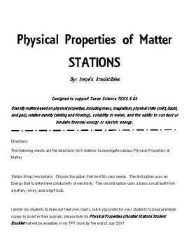 Physical Properties of Matter Stations Science TEKS 5.5A