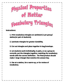 Physical Properties of Matter Vocabulary Activity