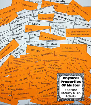 Physical Properties of Matter Words That May Be Used to Describe & Who Am I Lab