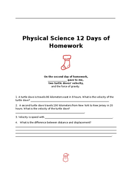 Physical Science 12 Days of Homework *Christmas Themed Review*