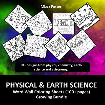 physical science 30 word wall coloring sheets chemistry physics - Chemistry Coloring Sheets 2