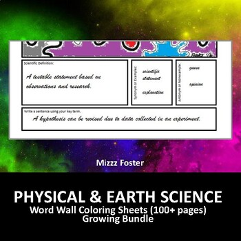 Physical Science 45+ Word Wall Coloring Sheets, Chemistry & Physics