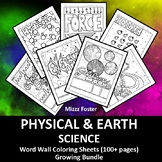 Physical Science 90+ Word Wall Coloring Sheets, Chemistry, Physics & Earth Sci.