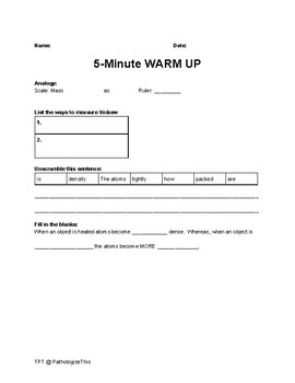 Physical Science 5-minute Language Based Warm-Ups