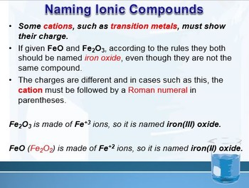Physical Science: 6.3 Compound Names and Formulas