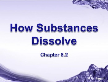 Physical Science: 8.2 How Substances Dissolve