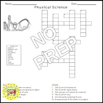 Physical Science Basics Science Crossword Puzzle Coloring Middle School
