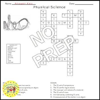 Physical Science Introduction Crossword Puzzle