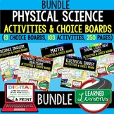 Physical Science Activities, Choice Board BUNDLE Print & Google