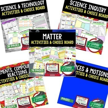 Physical Science Activities, Choice Boards  BUNDLE Print & Google