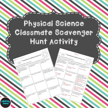 Physical Science Classmate Scavenger Hunt Activity