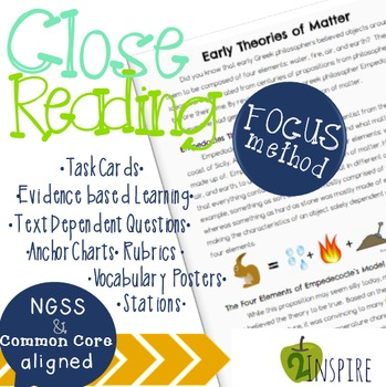 Physical Science Close Reading Theory of Matter Evidence and Text-Dependent Pack