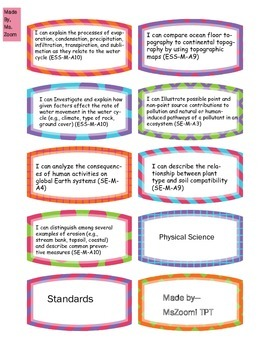 Physical Science Content Standard Cut-Outs!