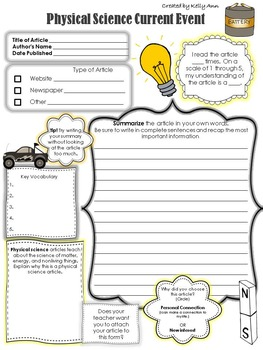 picture about Current Events Worksheet Printable referred to as Present-day Party Worksheet - Actual physical Science