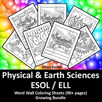 Physical Science ESOL / ELL 40+ Word Wall Coloring Sheets, Chemistry & Physics