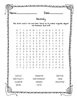 Physical Science Electricity Word Search