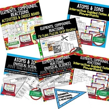 Physical Science Elements, Compounds, & Reactions (Physical Science BUNDLE)
