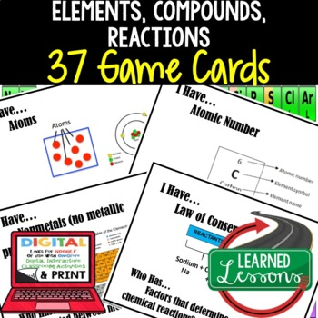 Elements, Compounds, & Reactions Game Cards, Physical Science Test Prep, NGSS
