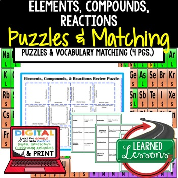 Physical Science Elements, Compounds, & Reactions Puzzles & Vocabulary Matching