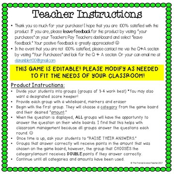 Physical Science End of the Year Review Game (Chemistry)