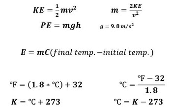 Physical Science Energy, Heat, and Temperature Examview Tests with Formula Sheet