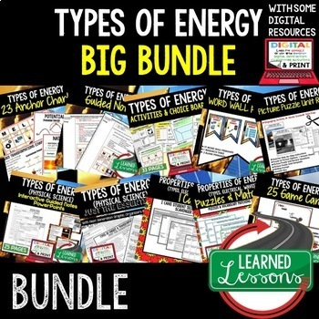 Physical Science Energy Types (Physical Science BUNDLE)