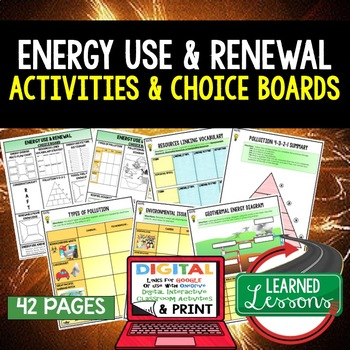 Physical Science Energy Use & Renewal Choice Boards & Activities