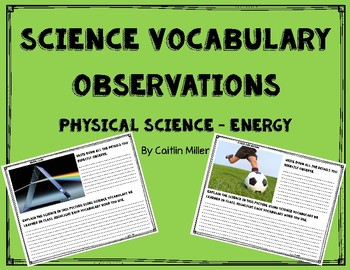 Physical Science Energy Vocabulary Observations