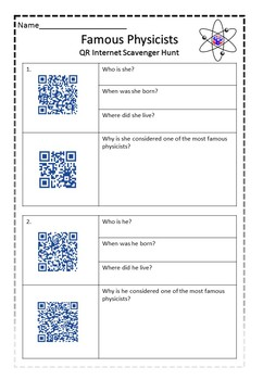 Physical Science - QR CODE Famous Physicists scavenger hunt!
