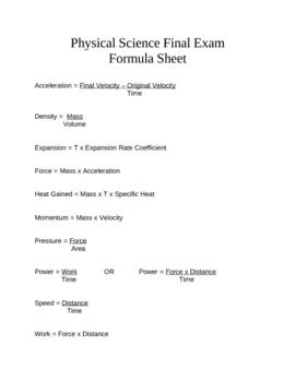 Physical Science Final Exam Formula Sheet