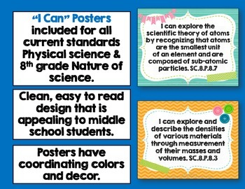Physical Science Florida Standards I Can Posters, Checklists, & Flap Book Bundle