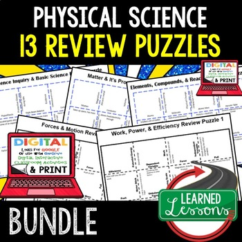 Physical Science Forces & Motion Puzzles & Vocabulary Matching Google-Print