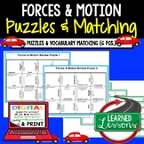 Physical Science Forces & Motion Puzzles & Vocabulary Matc
