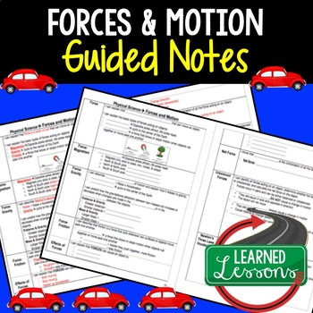 Physical Science Forces and Motion Student and Teacher Guided Notes BUNDLE