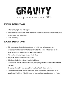 Physical Science Gravity Experiment