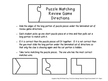 Physical Science Bundle of Puzzle Matching Review Games Vol #1 (Physics)