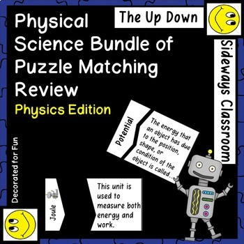 Physical Science Bundle of Puzzle Matching Review Games Vo