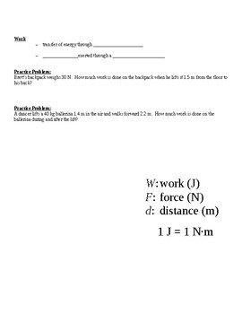 Physical Science Guided Notes (for Energy & Work PowerPoint)