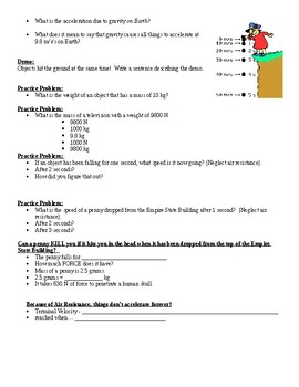 Physical Science Guided Notes (for Gravity PowerPoint)