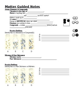 Physical Science Guided Notes (for Matter PowerPoint)