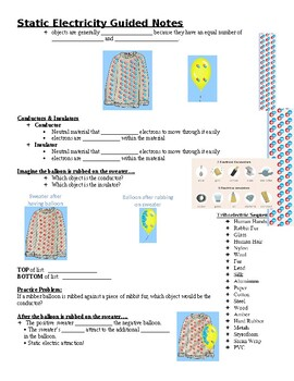 Physical Science Guided Notes (for Static Electricity PowerPoint)