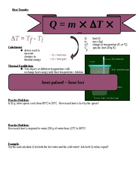 Physical Science Guided Notes for (Thermal Energy PowerPoint)