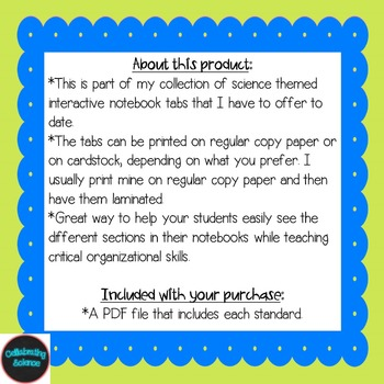 Physical Science Interactive Notebook Tabs **Aligned with NGSS & NSTA**