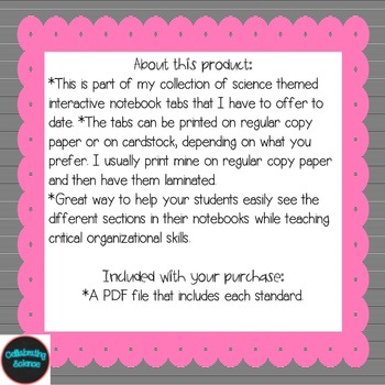 Physical Science Interactive Notebook Tabs Black striped Aligned w/ NGSS & NSTA
