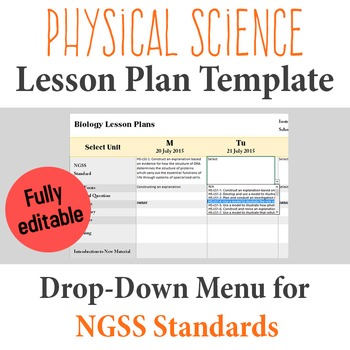 Physical Science Lesson Plan Template Drop Down Ngss Standards