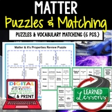Physical Science Matter Puzzles & Vocabulary Matching Google and Print