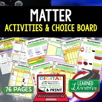 Physical Science Matter & Its Properties Choice Board Acti